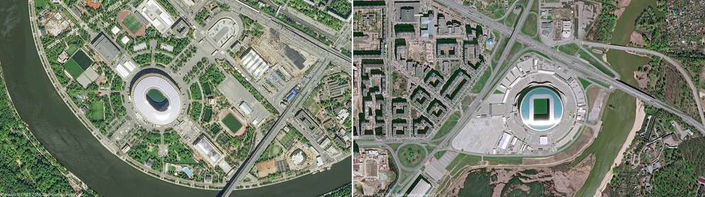 À gauche, le stade olympique de Moscou dont la construction date de 1955 et à droite, la Kazan Arena, situé à Kazan. Ce stade a été construit en 2010. © Pléiades, Cnes 2018, Distribution Airbus DS
