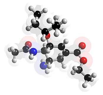 Structure 3D de l'oseltamivir (Tamiflu®). © 2005-2006 Karl Harrison, reproduction et utilisation interdites