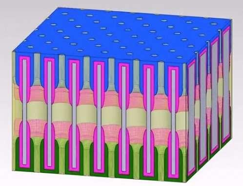Chaque nanopore de la structure agit comme une mini-batterie, car il contient une solution électrolyte avec une cathode et une anode à ses extrémités. Les chercheurs disent avoir d'ores et déjà identifié les axes de développement pour rendre la prochaine version dix fois plus puissante. © University of Maryland NanoCenter