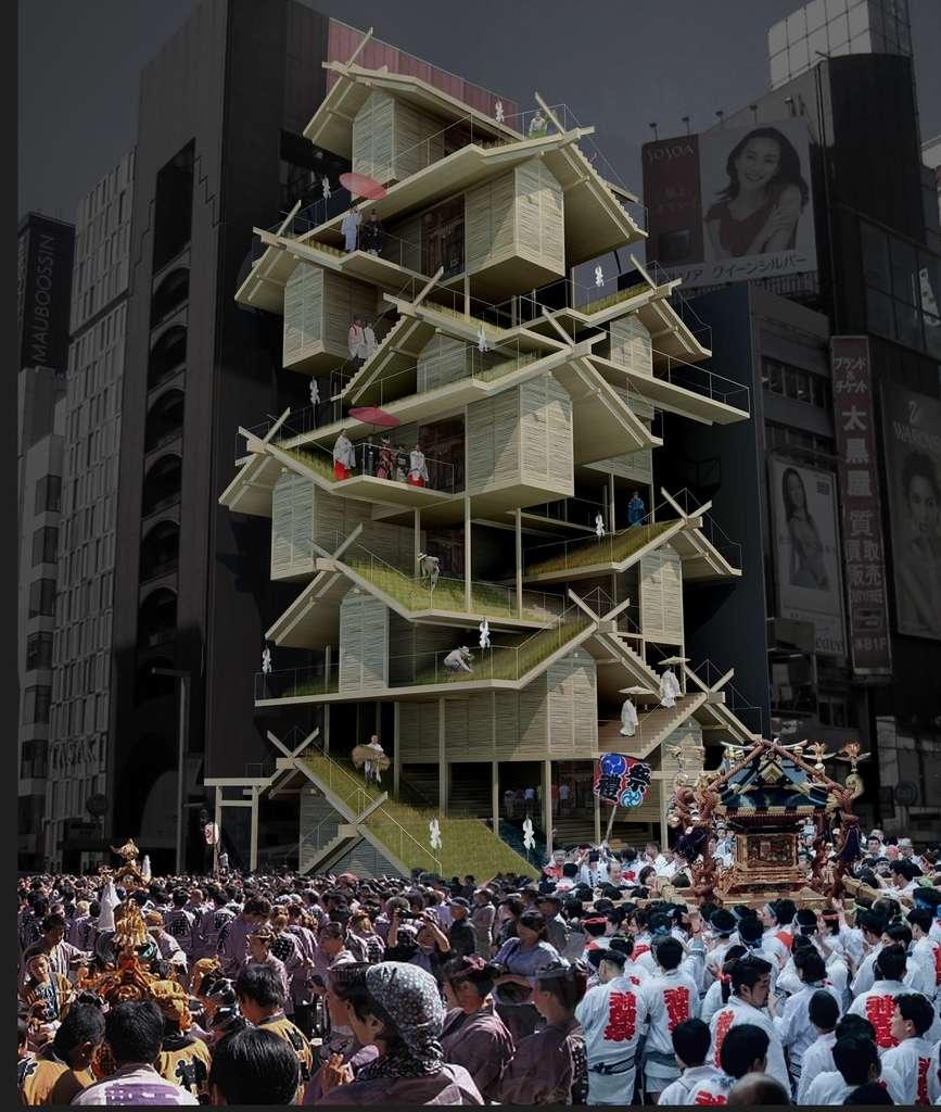 À la fois temple shinto et ferme verticale, cet immeuble est destiné à devenir un centre d'attraction pour Tokyo. © Tony Leung, eVolo