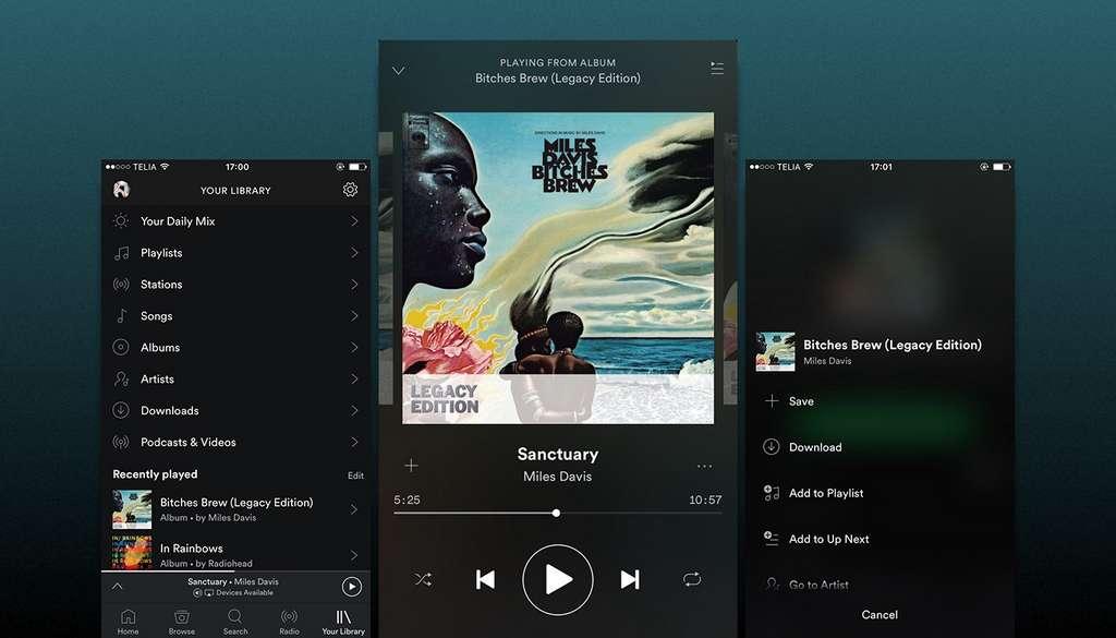 Spotify Music a un catalogue de plus de 35 millions de morceaux que vous pouvez télécharger et écouter hors ligne. © Spotify AB.