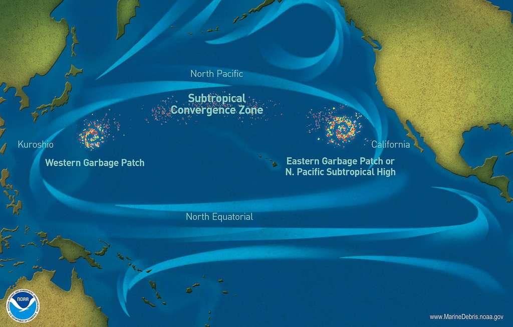 Le vortex de déchets du Pacifique Nord a généré un « continent » de plastique. © Noaa, Wikimedia Commons