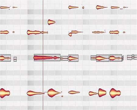 Un morceau de musique analysé par le logiciel. La ligne inférieure montre l'image globale du son. Dans la partie supérieure du graphique, les notes apparaissent sur des lignes horizontales. Comme dans une partition, les graves sont en bas et les aigus en haut. Chaque motif, représentant une note, peut être déplacé ou déformé. Ici, le motif coloré en rouge a été déplacé vers la gauche. © Celemony Software