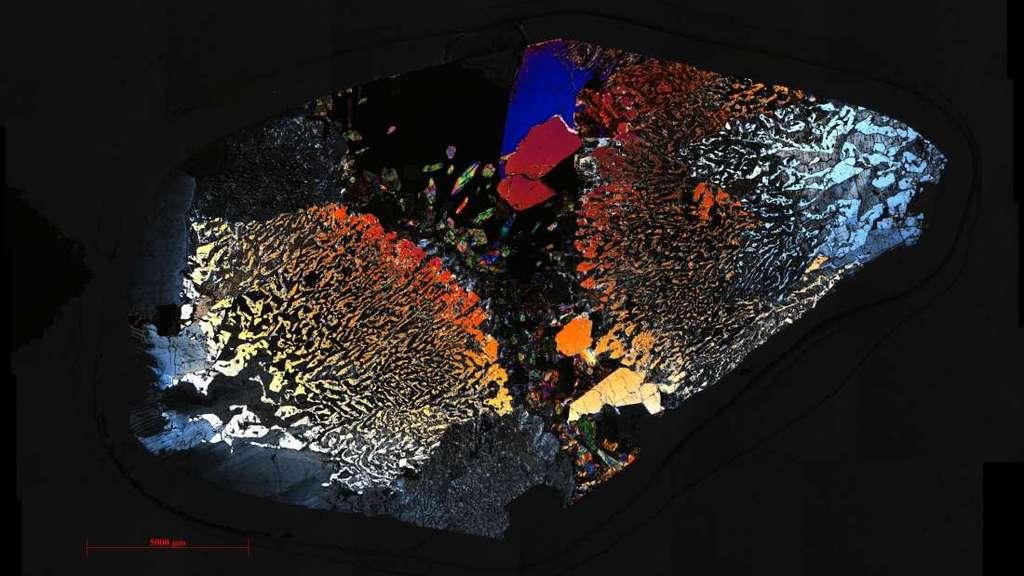 Un examen détaillé de roches plutoniques nichées à des centaines de mètres sous l'eau a révélé la vie dans la croûte océanique inférieure. Voici une mosaïque de microphotographie en coupe mince d'un des échantillons. © Frieder Klein, Woods Hole Oceanographic Institution