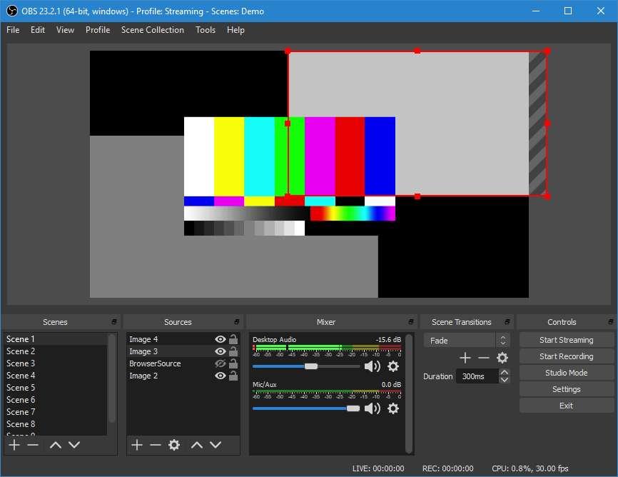 OBS Studio présente une interface moderne, épurée et fonctionnelle, sans doute la mieux conçue de cette sélection. © OBS Studio Contributors