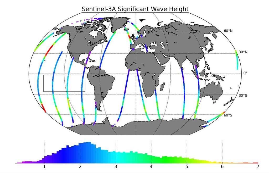 Premières données de l'altimètre radar SRAL. Cet instrument sera très utile à la surveillance de l'état de la mer. Plusieurs paramètres seront mesurés, comme la hauteur des vagues, l'épaisseur des glaces. Un ensemble de données utiles à de nombreuses activités et services liés à l'utilisation de l'océan. © Copernicus data (2016)