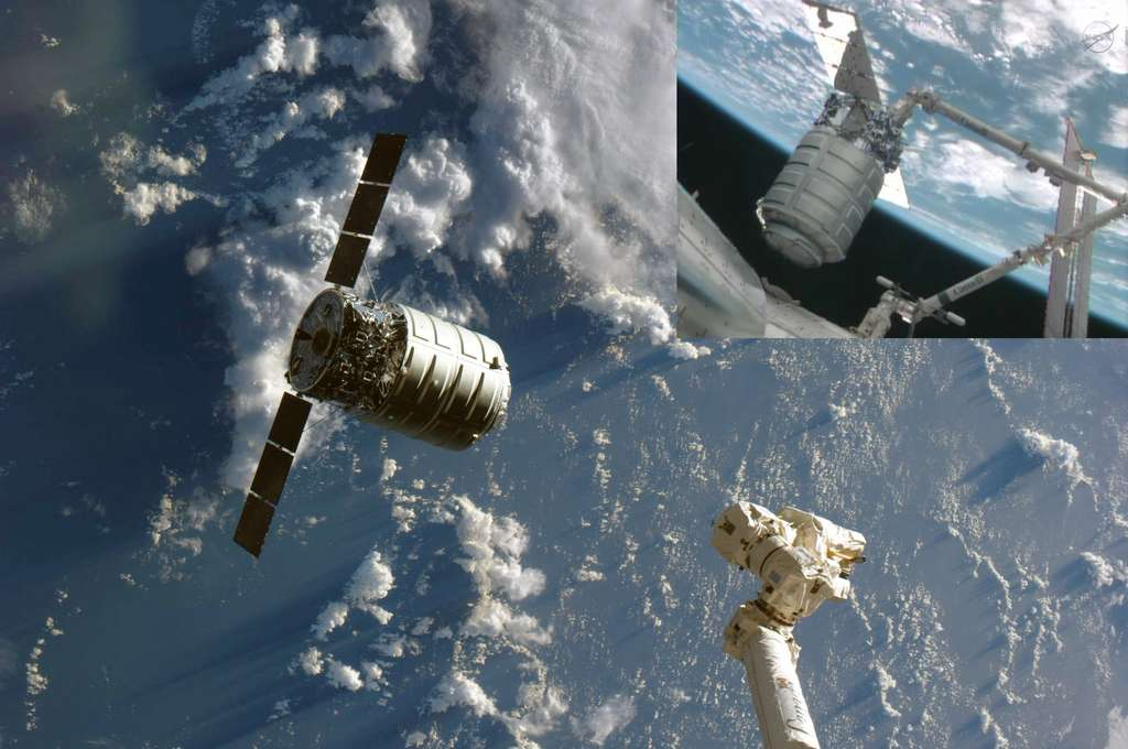 Capture et amarrage du cargo Cygnus à la Station spatiale internationale. Pour l'histoire, on retiendra que c'est la première fois que 7 modules pressurisés développés par une même société, Thales Alenia Space, sont aujourd'hui arrimés à la Station Spatiale. © Nasa