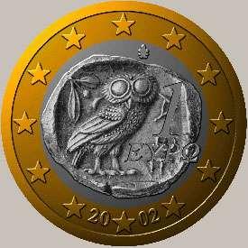 Euro grec reprenant la chouette de Laurion.