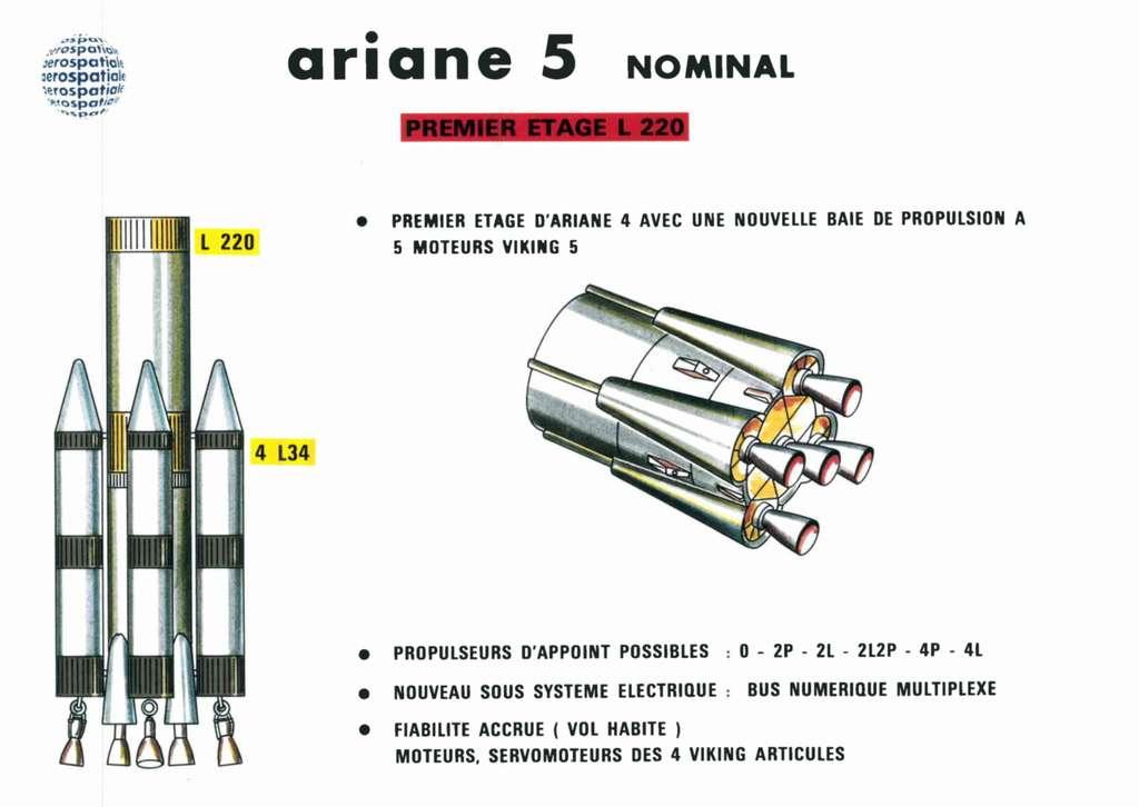 Les premières études de l'étage principal d'Ariane 5 montraient un étage dérivé d'Ariane 4. Finalement, il sera pris la décision de construire un nouveau moteur à la place des moteurs Viking (Vulcain). © ArianeGroup