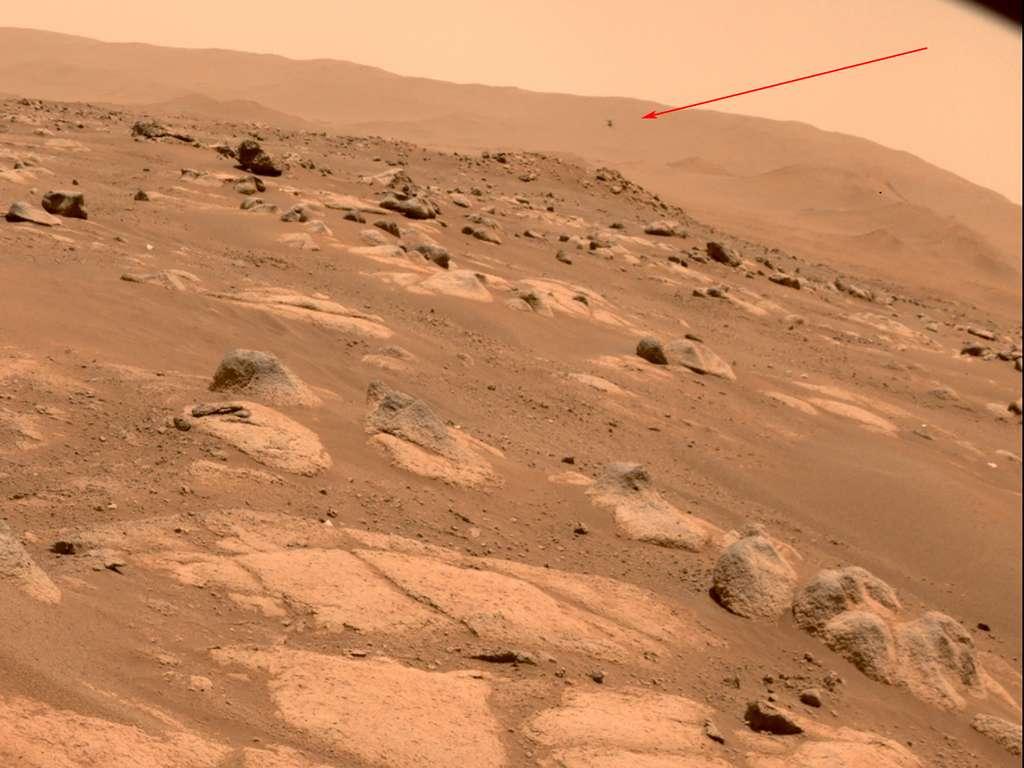 Ingenuity lors de son quatrième vol, le 30 avril 2021. © Nasa, JPL