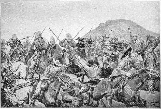 Charge de l'armée britannique à la bataille d'Elandslaagte. © Richard Caton Woodville, Wikimedia Commons, domaine public