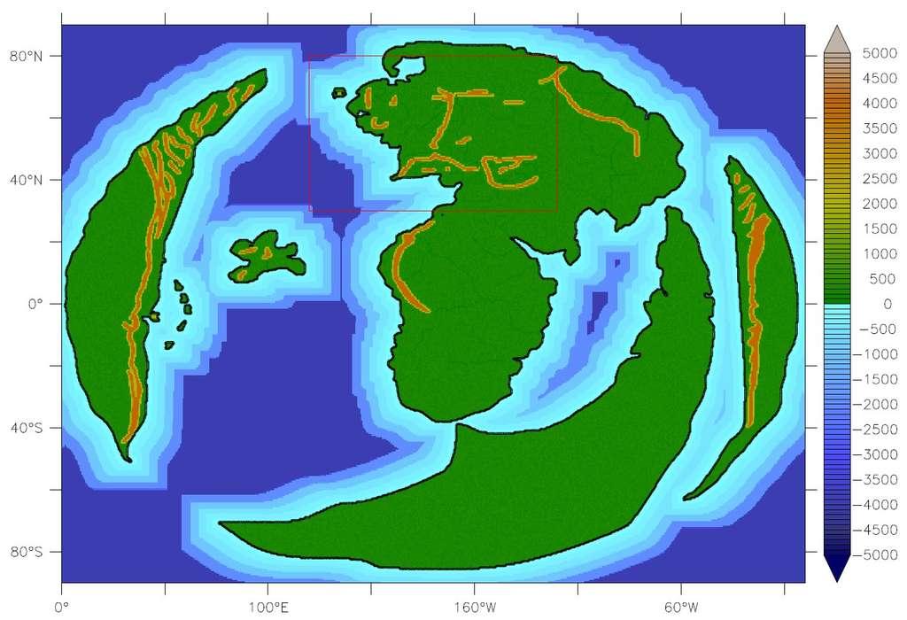 Altimétrie et bathymétrie de la Terre du Milieu, le monde des Hobbits. La carte a servi de point de départ à une étude de son climat. © Institut Cabot, université de Bristol