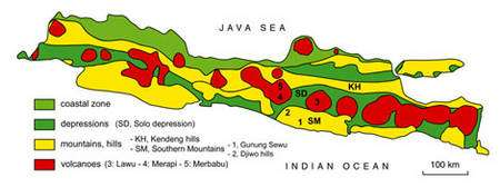 Carte géologique simplifiée de l'île de Java. © Semenanjung, MQPI