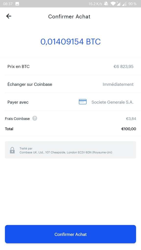 Avant la confirmation du paiement, Coinbase affiche le nombre de bitcoins qui seront obtenus ainsi que les frais de la plateforme. © Coinbase