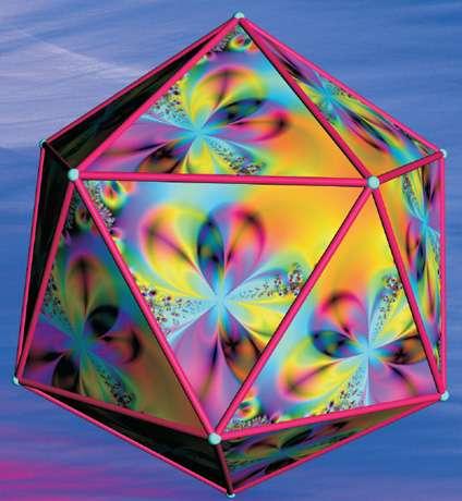 Les mathématiciens ont découvert des trajectoires fermées d'une boule de billard rebondissant sur les faces de cinq solides de Platon. L'illustration ci-contre de Teja Krasek montre une telle trajectoire rebondissant sur toutes les faces dans le cas de l'icosaèdre. © Dunod, droits réservés