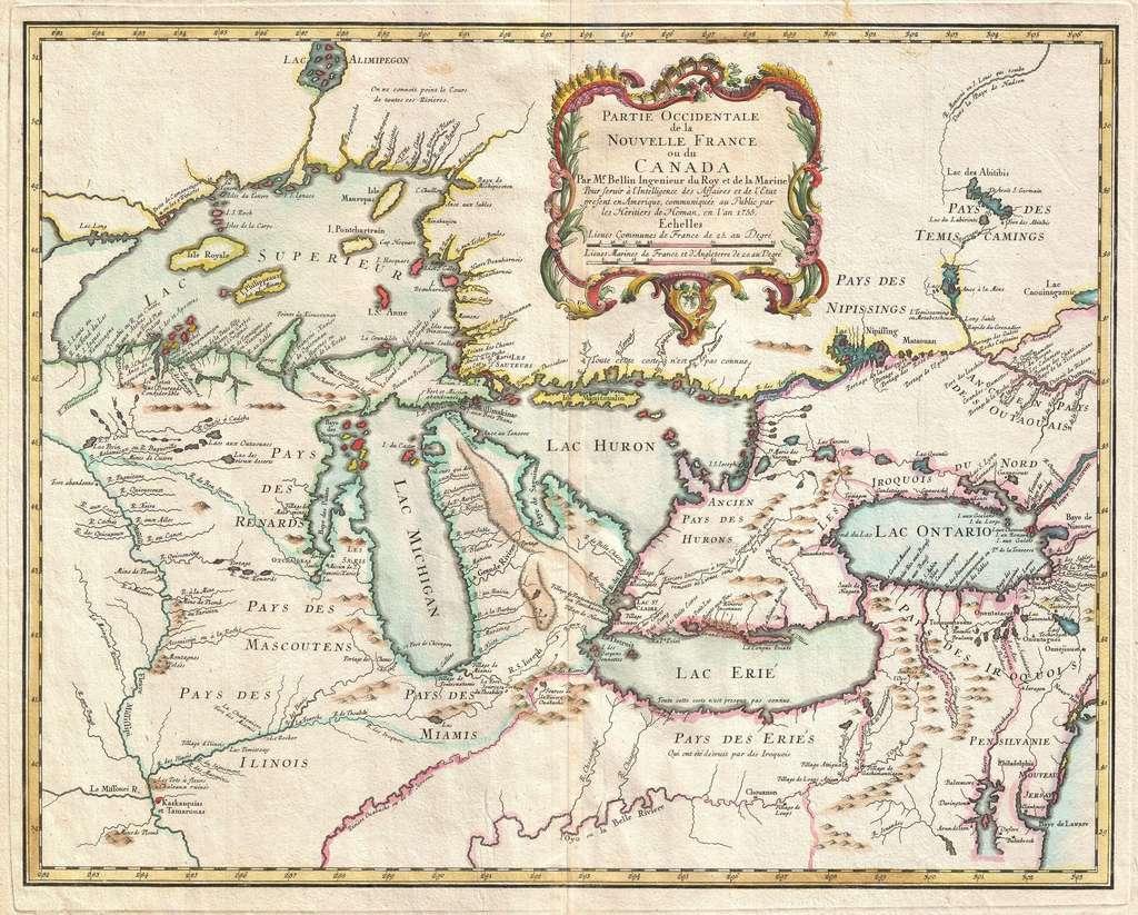 """Carte des Grands Lacs nord-américains, """"Partie occidentale de la Nouvelle France ou du Canada"""", par Jacques Nicolas Bellin, Ingénieur du Roy et de la Marine, 1755 ; sont indiqués les différents pays des nations amérindiennes. © Wikimedia Commons, domaine public."""