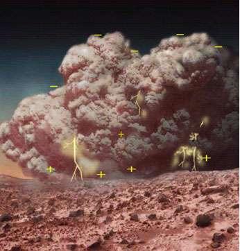 """Vue d'artiste d'une tempête de poussière électriquement chargée. Les symboles """"+"""" et """"-"""" représentent respectivement les charges électriques positives et négatives. © NASA"""
