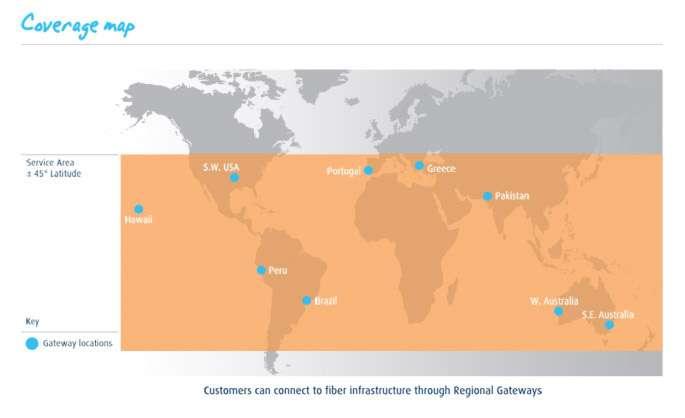 La zone de couverture des satellites de la constellation d'O3b Networks, alignés le long de l'équateur, est de 45° de part et d'autre de cet axe. © O3b Networks