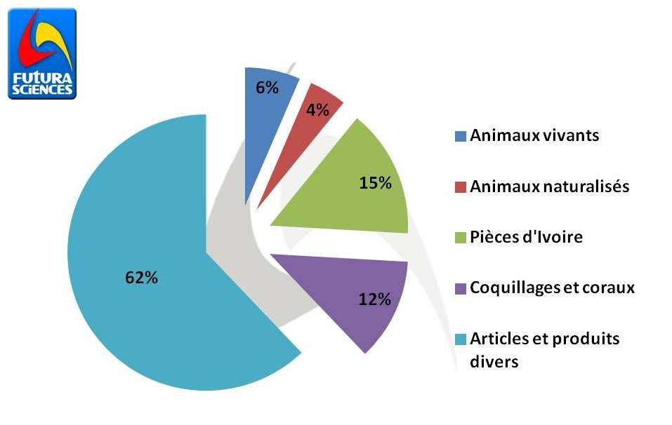 En France en 2010, 11.129 saisies ont été effectuées dans le cadre de la lutte contre le commerce international d'espèces animales ou végétales protégées par la convention de Washington. Ces saisies se divisent en plusieurs catégories. La proportion de chacune d'entre elles est représentée dans le diagramme ci-dessus. © Quentin Mauguit/Futura-Sciences (d'après les données transmises par la douane)