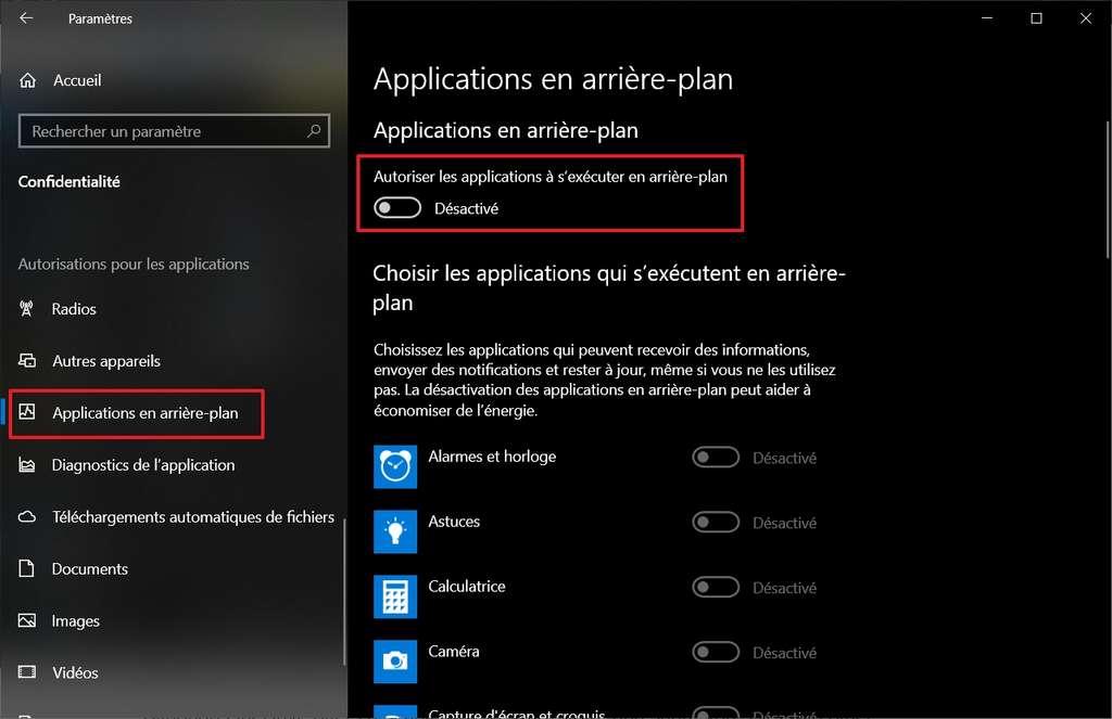 Paramètres d'applications en arrière-plan. © Microsoft Corporation