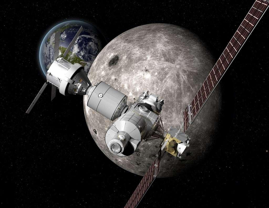 Concept américain d'un Deep Space Gateway à proximité de la Lune. © Nasa, Boeing