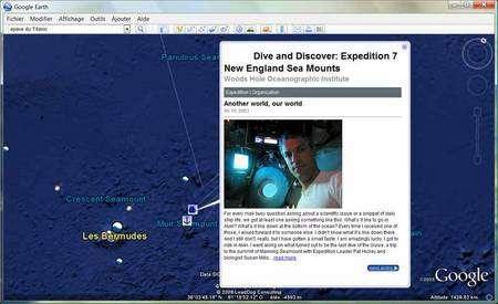 Partez à la découverte de montagnes sous-marines. (Copie d'écran Google Earth Ocean)