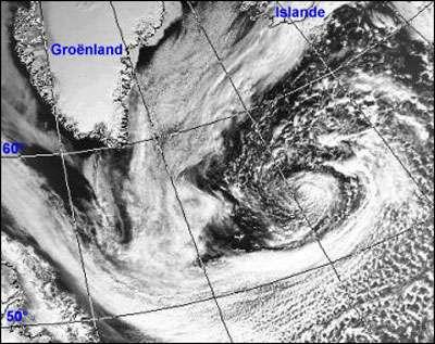 1 - Dépression sur l'Atlantique nord: elle ne met que deux ou trois jours pour traverser l'océan et sa durée de vie est de l'ordre d'une semaine.