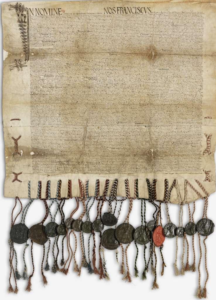 Traité de Paix perpétuelle de Fribourg, signé en 1516 entre les treize cantons suisses et le roi de France. Exemplaire en latin conservé aux Archives nationales de France. © Wikimedia Commons, domaine public