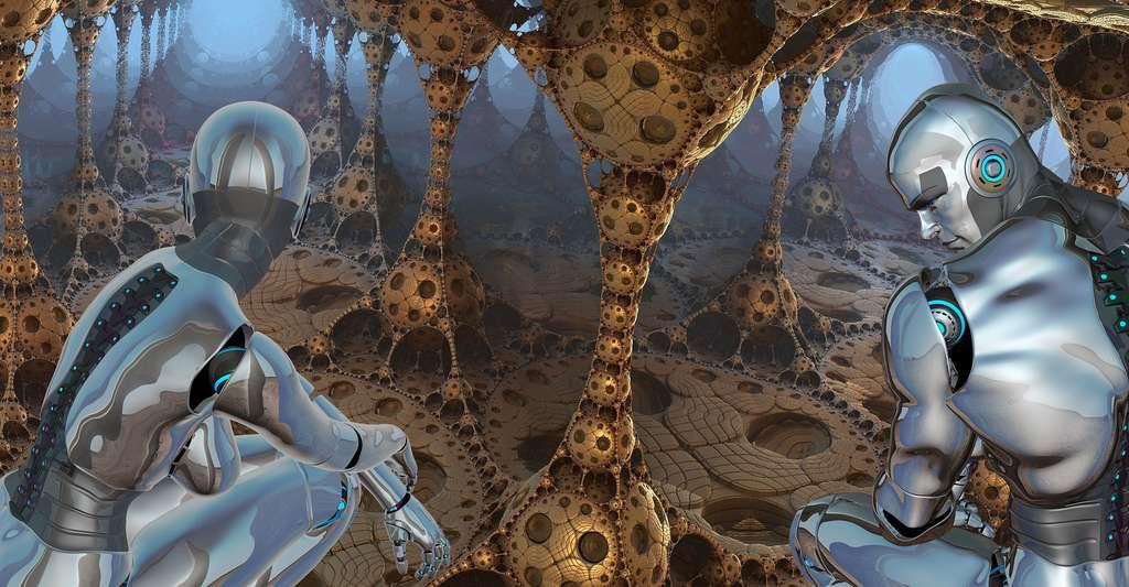Vue d'artiste d'un possible futur où les robots humanoïdes ressembleront vraiment aux humains. © PeteLinforth, DrSJS CCO