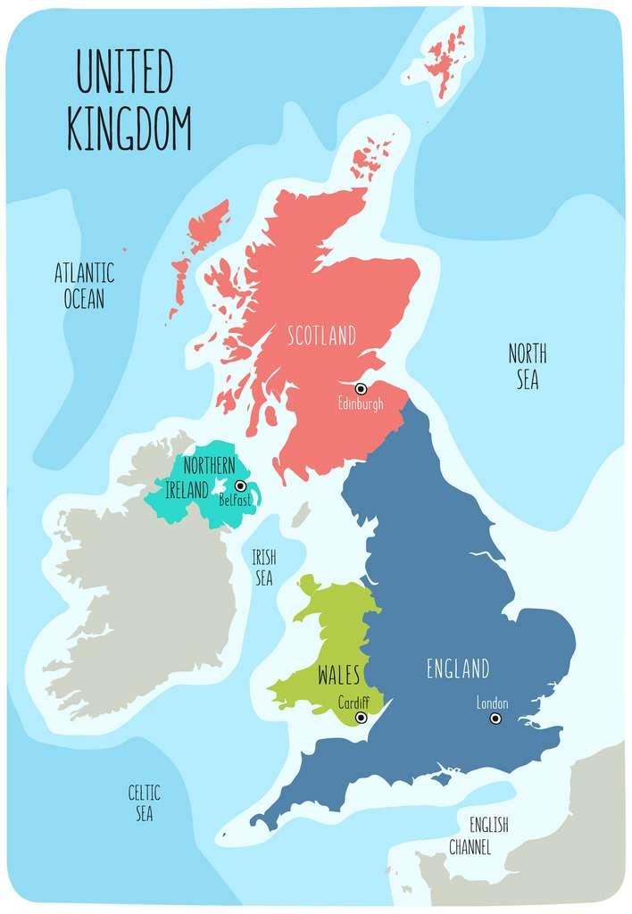 Le Royaume-Uni regroupe l'Angleterre, l'Écosse, le Pays de Galles et l'Irlande du Nord. © LaraFields, Adobe Stock