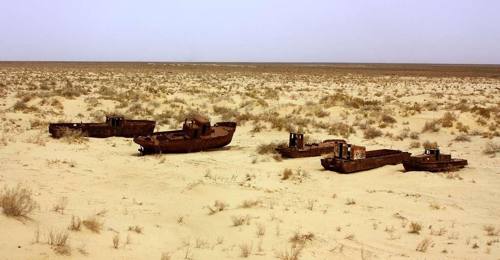 Bateaux dans la mer d'Aral asséchée. © Arian Zwegers, CC by-nc 2.0