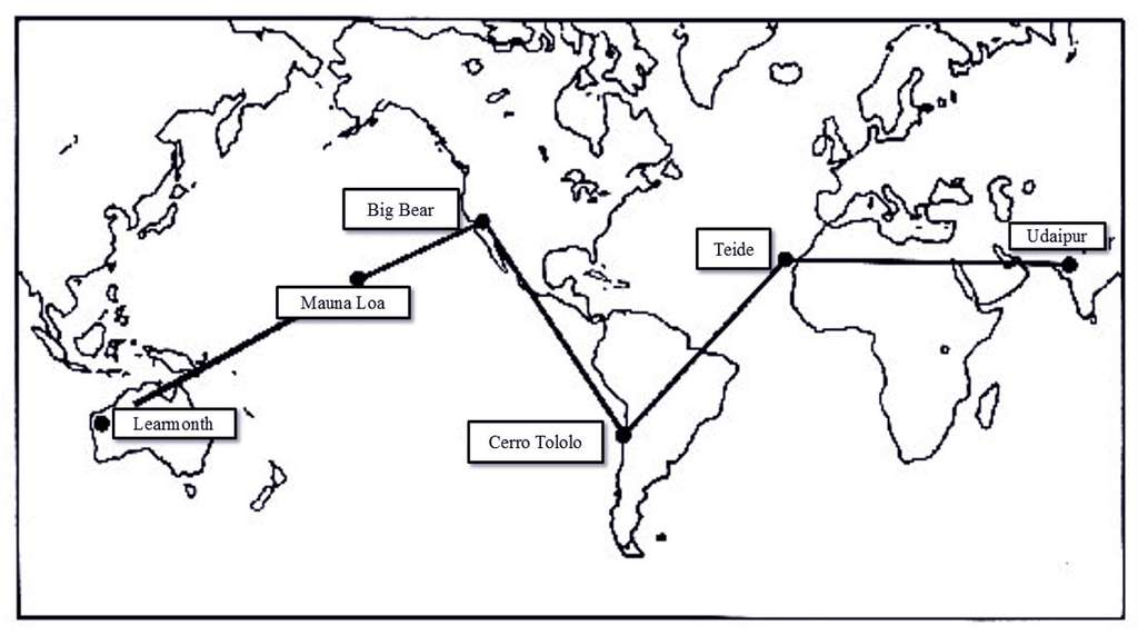 Le réseau Gong d'observation du Soleil. © DR