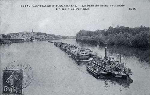 Toueur de Conflans-Sainte-Honorine. Un toueur peut remorquer plusieurs dizaines de péniches. © DP