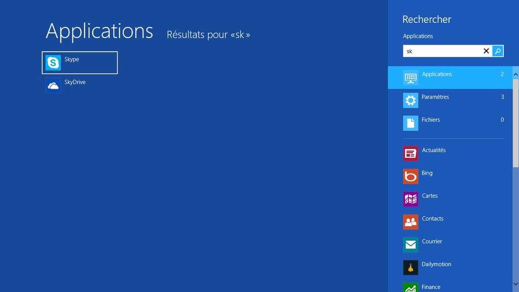Il n'y a plus de menu Démarrer sous Windows 8 donc le module de recherche est devenu indépendant. Il permet de trouver une application, un fichier ou même un paramètre système à partir des premières lettres de son nom. © Eureka Presse