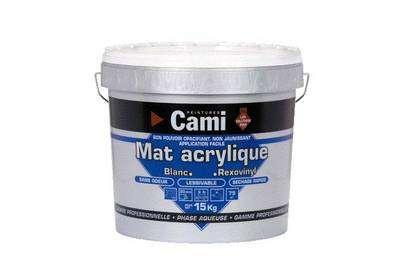 Peinture acrylique : peinture au copolymère acrylique, applicable en 2 couches. Elle est sans odeur et sèche au toucher en 20 minutes ; elle est recouvrable 6 heures après. Rendement moyen : 8 m2/litre. © DR