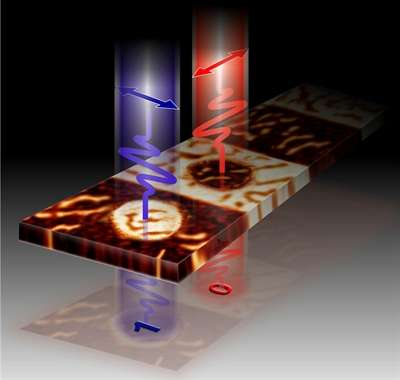 Le principe de l'inscription par impulsion laser de bits d'informations dans une mémoire magnétique en grenat. Les impulsions sont polarisées, c'est-à-dire que le champ électrique oscille dans une direction indiquée par les flèches. © Radboud University