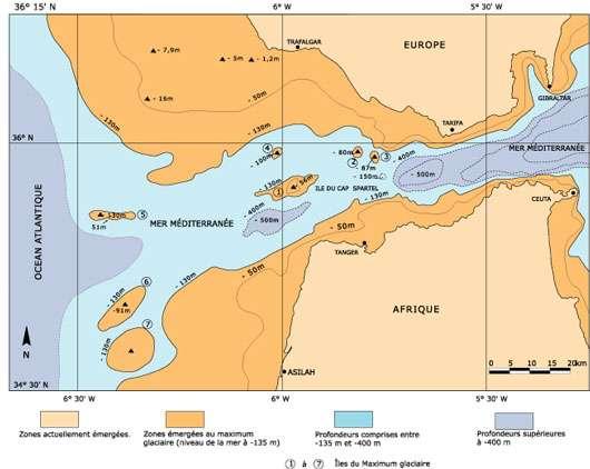 Figure 1 : Schéma des zones émergées entre 19.000 BP et le début de notre ère.
