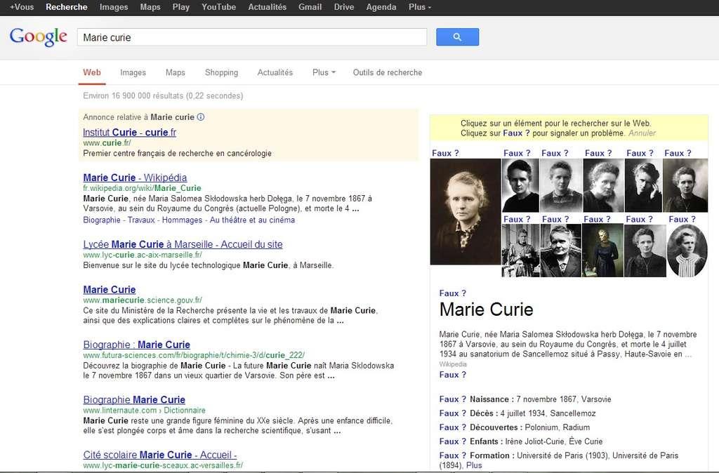 Exemple d'un résultat produit par le Knowledge Graph de Google lorsque l'on effectue une recherche sur Marie Curie. Les internautes peuvent signaler la présence d'une erreur sur les informations présentes dans la fiche de synthèse. © Google