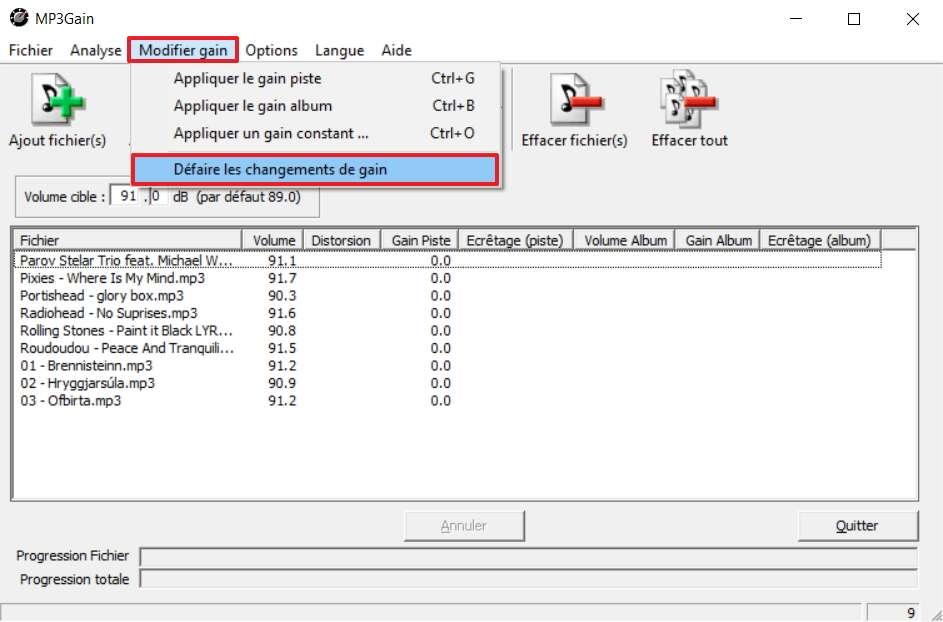 Il est possible d'annuler les changements opérés en deux clics. © MP3Gain