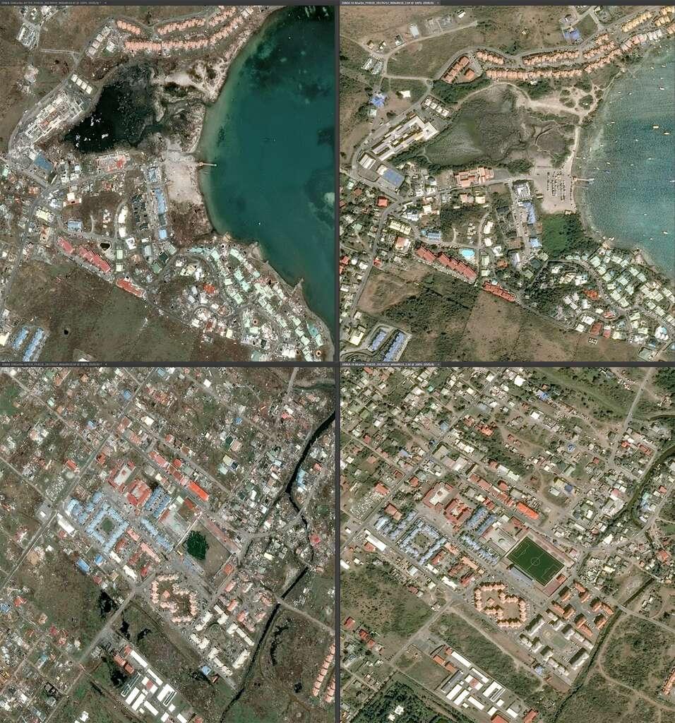 Saint-Martin avant et après. Attention, les images n'ont pas le même angle de prise de vue, d'où une déformation des plans. © Cnes 2017, distribution Airbus DS