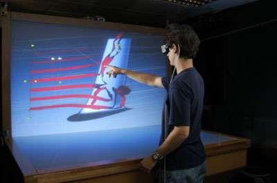 De nombreuses techniques de réalité virtuelle sont étudiées au laboratoire Gravir. Grâce au plan de travail virtuel dont ils sont équipés, les chercheurs peuvent découvrir les procédés de retour d'effort les plus adaptés. Et restituer des sensations de relief sur un ou deux doigts. Ou bien à l'extrémité d'un stylet. © J. Wallace / INRIA