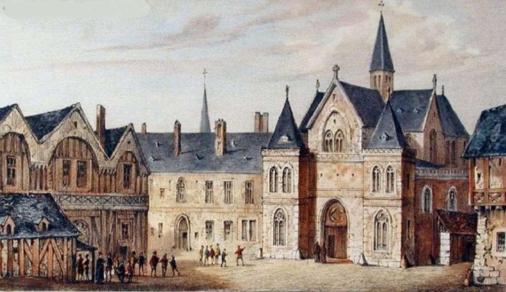 Vue du collège de Sorbonne vers 1550, tableau de Nousveaux et Pernot daté de 1850. Wikimedia Commons, domaine public