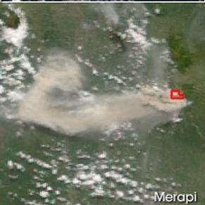 Le mont Merapi vu par Terra, le 8 juin 2006 (Courtesy of the MODIS Rapid Response team)