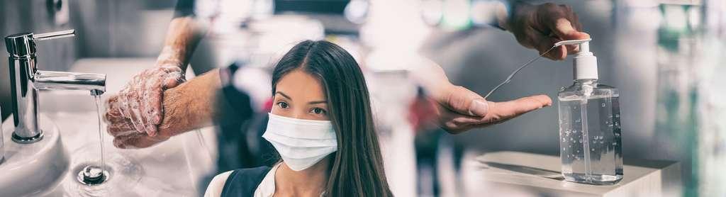 Le port du masque doit être associé aux autres gestes barrières, lavage des mains entre autres, pour être efficace. © Maridav, Adobe Stock
