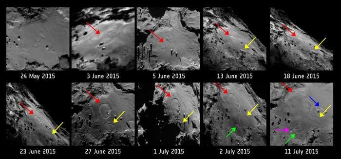 Clichés de la région d'Imhotep, située sur le plus grand lobe du noyau cométaire, près de l'équateur (consulter la carte interactive 3D de Tchouri : CometViewer), entre le 24 mai et le 11 juillet. Les flèches indiquent les différents changements observés. © Esa, Rosetta, MPS for Osiris Team MPS, UPD, LAM, IAA, SSO, INTA, UPM, DASP, IDA