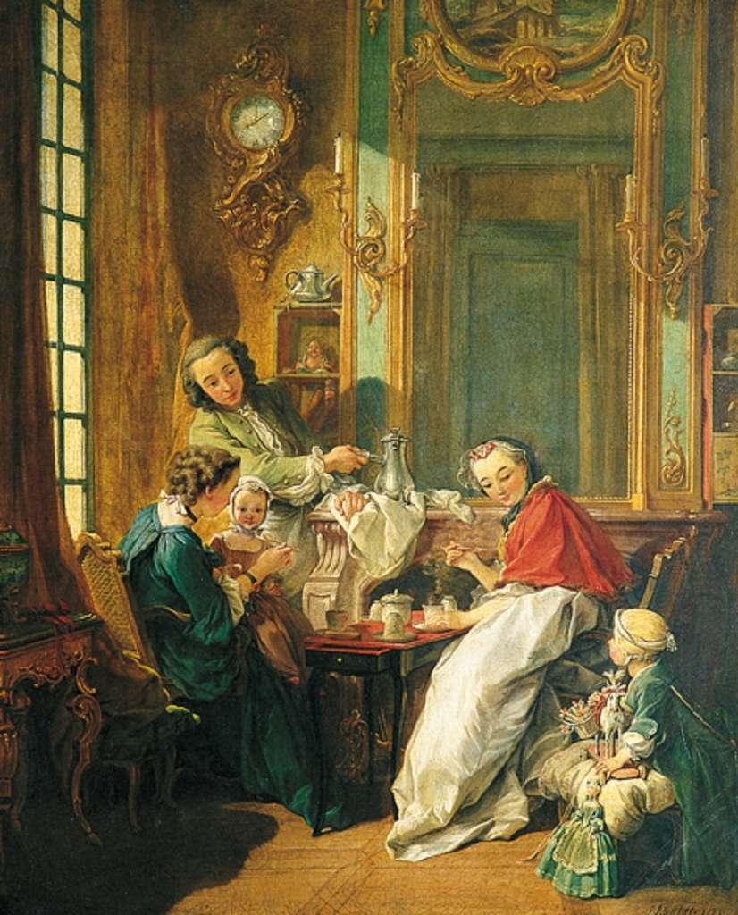Intérieur noble au XVIIIe siècle : Le déjeuner de François Boucher, en 1739. Musée du Louvre, aile Sully, salle 921. © 2007, Musée du Louvre/Angèle Dequier