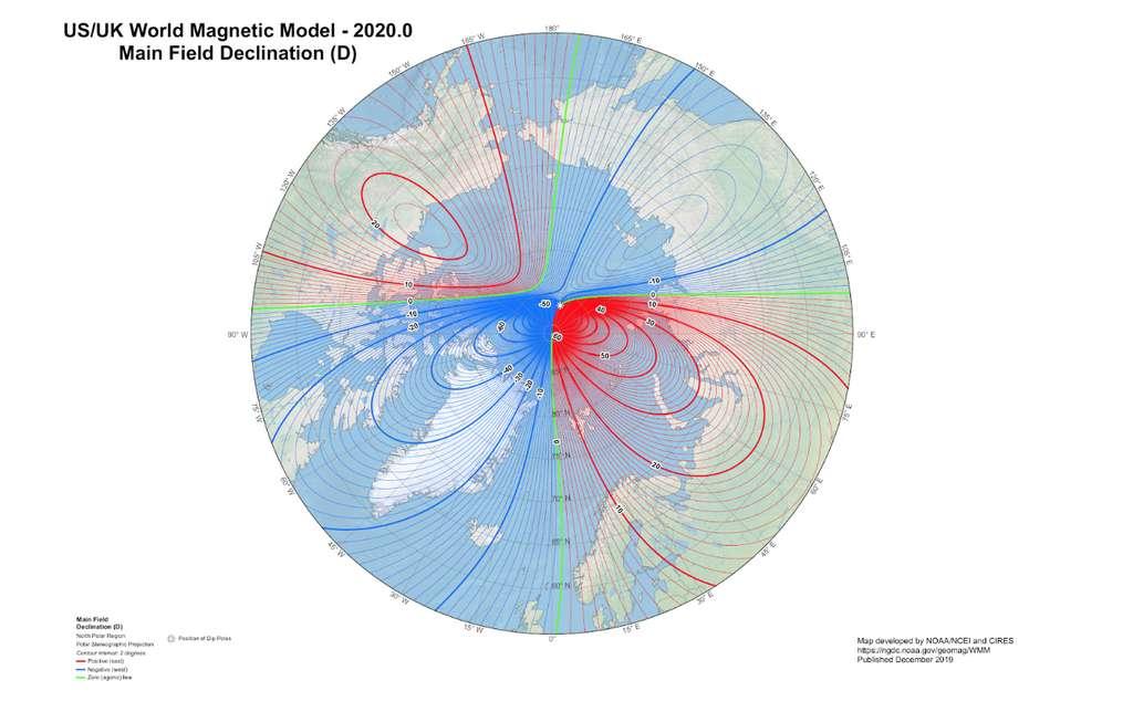 Ici, la carte de la déclinaison et de l'emplacement du pôle nord magnétique en 2020. © NOAA NCEI, CIRES