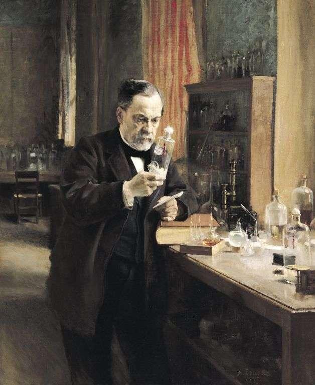 Ce tableau d'Albert Edelfelt représente Louis Pasteur examinant un bocal conternant une moelle de lapin contaminée par le virus de la rage. Le point de départ d'un bouleversement de la médecine. © Sanofi-Pasteur, Flickr, cc by nc nd 2.0