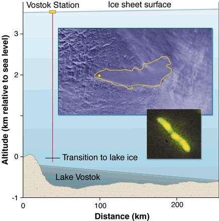 Situation en coupe du lac Vostok et vue aérienne. L'image infrarouge met en évidence les deux parties profondes du lac. Crédit : Institut de recherche russe arctique et antarctique.