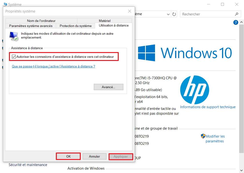 Il faut aller dans l'onglet «Utilisation à distance» pour s'assurer que la case d'assistance est cochée. © Microsoft